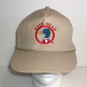 Vintage Duck Head Trucker Snapback Hat Cap Tan